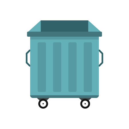 dumpster: Dumpster on wheels icon in flat style isolated on white background. Waste and sanitation symbol