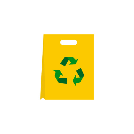 recyclable: Recyclable plastic bag icon in flat style isolated on white background. Packaging symbol