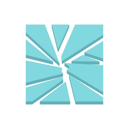 Broken glass icon in flat style isolated on white background. Crashed symbol Illustration