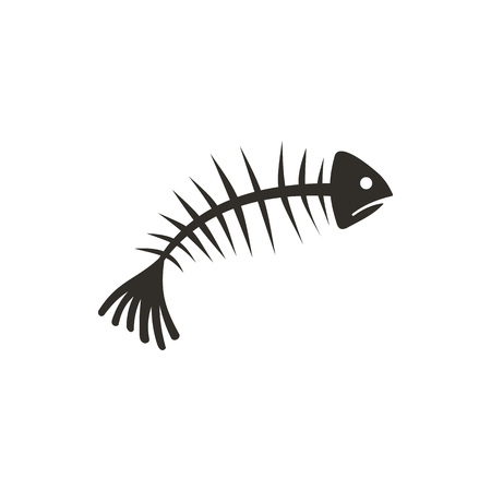 illustration of black fishbone: Fish bones icon in flat style isolated on white background. Seafood symbol