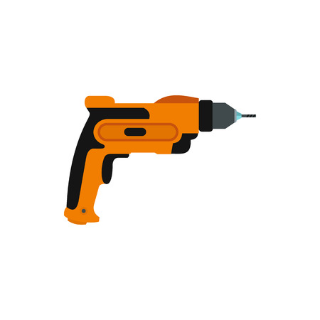 auger: Drill icon in flat style isolated on white background. Tool symbol