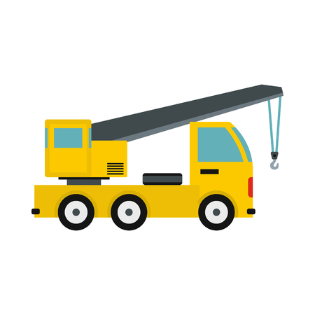 Truck with crane icon in flat style isolated on white background. Transport symbol