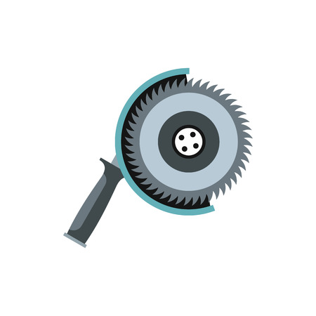 dangerous work: Circular saw icon in flat style isolated on white background. Tool symbol