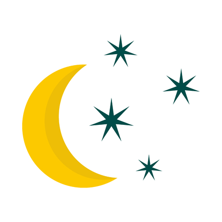 Crescent and star icon in flat style isolated on white background. Night sky symbol