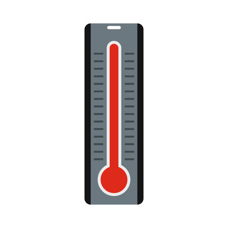high temperature: Thermometer with high temperature icon in flat style isolated on white background. Heat symbol