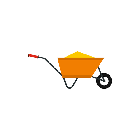rubbish cart: Wheelbarrow with construction debris icon in flat style isolated on white background. Trash symbol