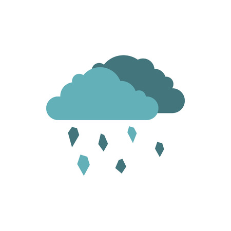 hail: Clouds and hail icon in flat style isolated on white background. Weather symbol Illustration