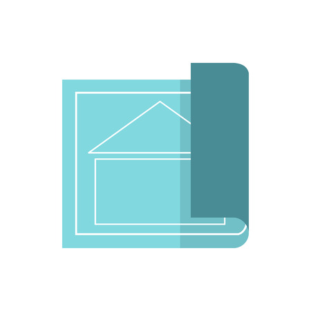 architectural design: Architectural design of house icon in flat style isolated on white background. Drawing symbol