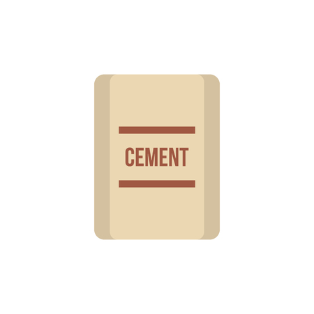 pouch: Pouch of cement icon in flat style isolated on white background. Building material symbol