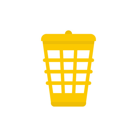 reusing: Yellow garbage basket icon in flat style isolated on white background