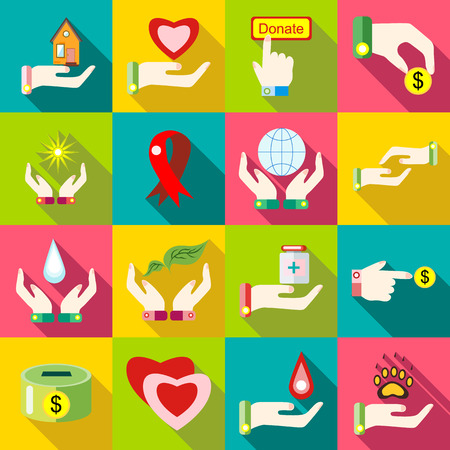 sheltering: Flat charity icons set. Universal charity icons to use for web and mobile UI, set of basic charity elements vector illustration