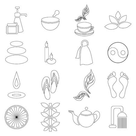beauty therapist: Outline spa icons set. Universal spa icons to use for web and mobile UI, set of basic spa elements vector illustration