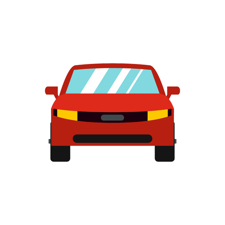 Red car icon in flat style isolated on white background Illustration
