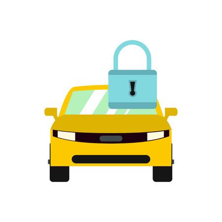 Locking car doors icon in flat style isolated on white background Illustration
