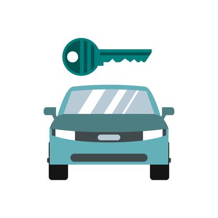 Car key icon in flat style isolated on white background Ilustração