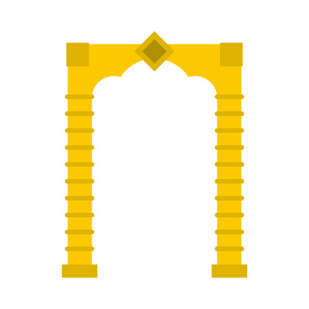 roman pillar: Yellow arch icon in flat style on a white background Illustration