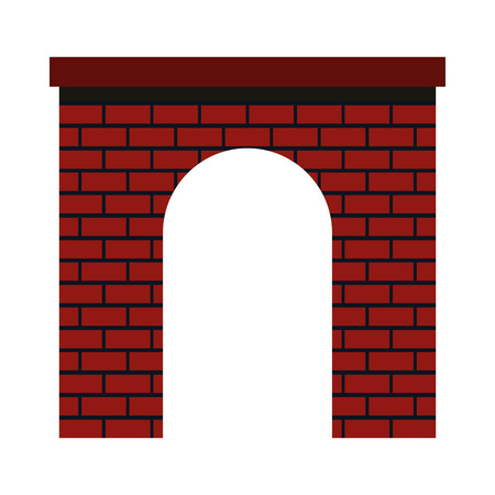 shouldered: Brick arch icon in flat style on a white background
