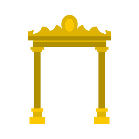 archway: Golden antique arch icon in flat style on a white background