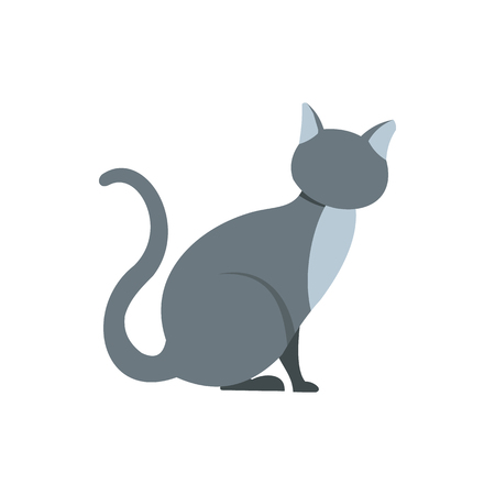 pussy hair: Gray cat icon in flat style on a white background Illustration