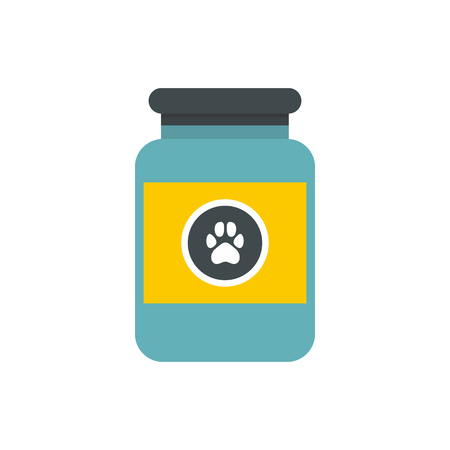 medicament: Vitamins or medicament for animals icon in flat style on a white background