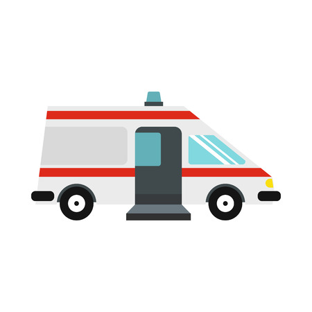 disaster relief: Ambulance car icon in flat style on a white background