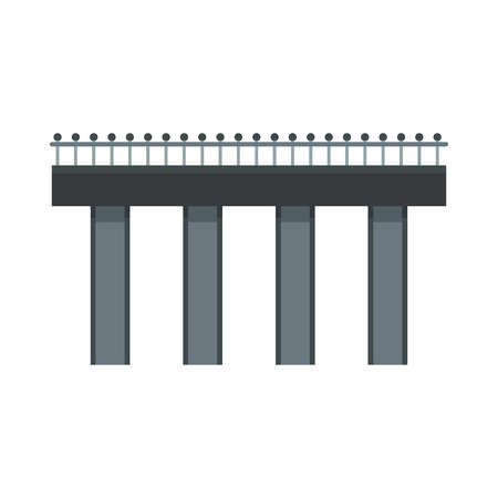 railings: Bridge with steel railings icon in flat style on a white background