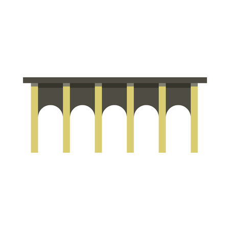 viaduct: Arch bridge icon in flat style on a white background