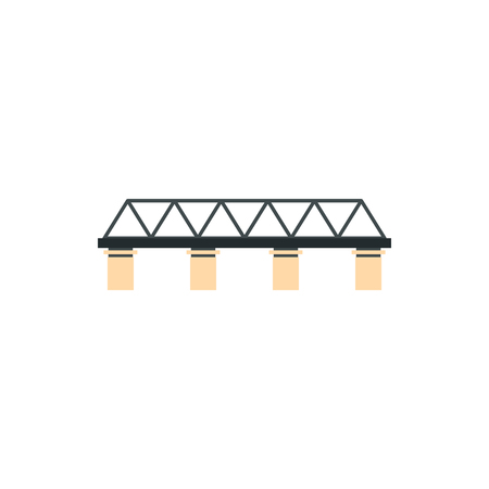 truss: Truss bridge icon in flat style on a white background
