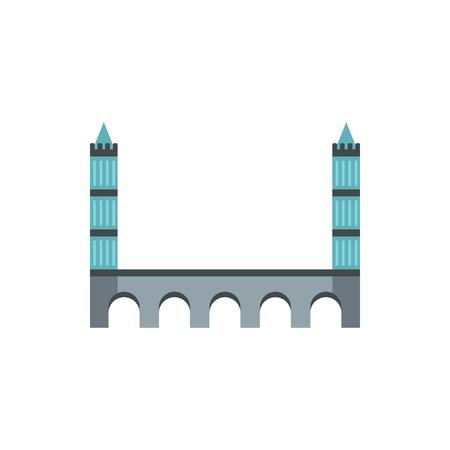 tower bridge: Tower bridge icon in flat style on a white background Illustration