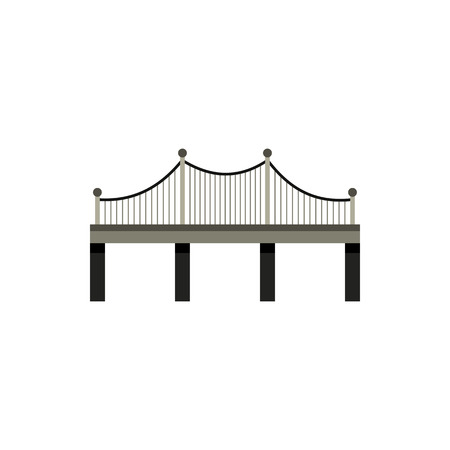 viaduct: Black bridge with railings icon in flat style on a white background Illustration