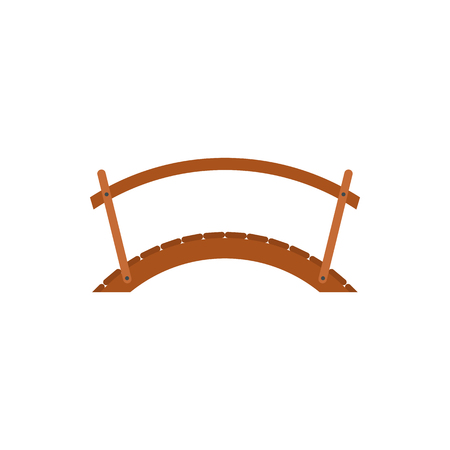 Pont en bois avec main courante icône dans le style à plat sur un fond blanc