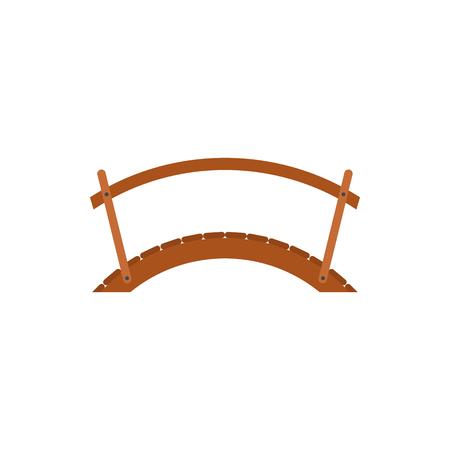 Puente de madera con barandilla icono de estilo plano sobre un fondo blanco