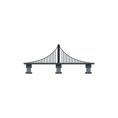 Cable stayed bridge icon in flat style on a white background