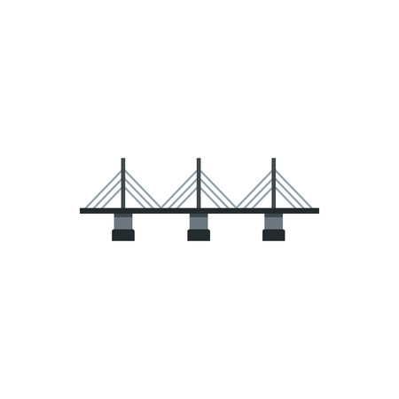 suspension bridge: Suspension bridge icon in flat style on a white background