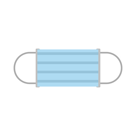 Disposable face mask icon in flat style on a white background