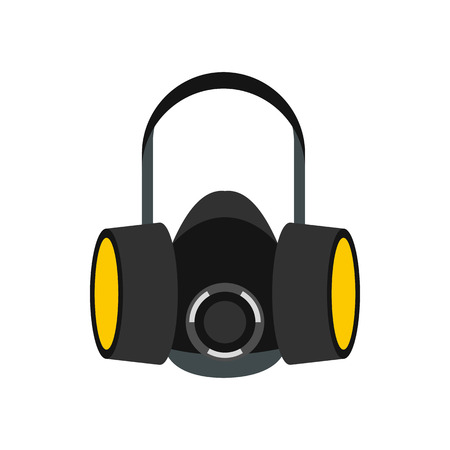respirator: Respirator icon in flat style on a white background