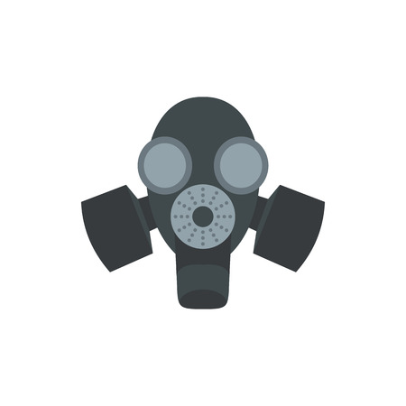 nuclear fear: Black gas mask icon in flat style on a white background