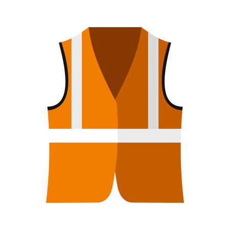 life jackets: Orange safety vest icon in flat style on a white background