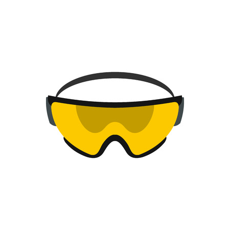 glasses icon: Yellow safety glasses icon in flat style on a white background Illustration