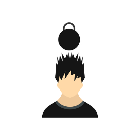 over weight: Man with the weight over his head icon in flat style on a white background