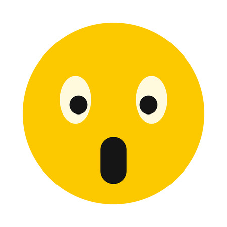 sorrowfully: Surprised smiley icon in flat style isolated on white background. Facial expressions symbol