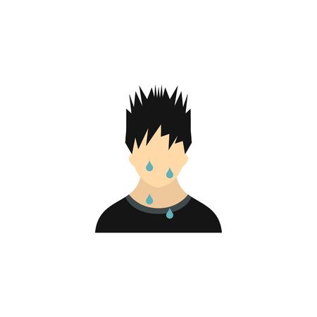 sweaty: Sweaty man icon in flat style on a white background Illustration