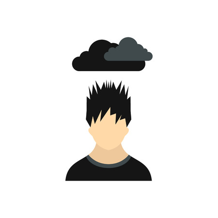 dark cloud: Depressed man with dark cloud over his head icon in flat style on a white background Illustration