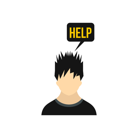 needs: Man needs help icon in flat style on a white background