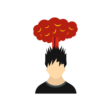 despondency: Man with red cloud over head icon in flat style on a white background