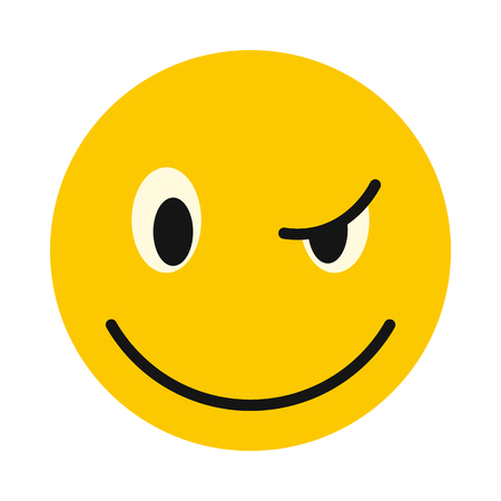 devious: Devious smiley icon in flat style isolated on white background. Facial expressions symbol Illustration