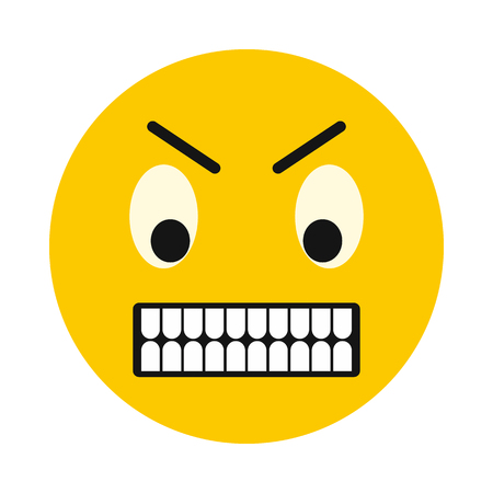 irritated: Irritated smiley icon in flat style isolated on white background. Facial expressions symbol Illustration