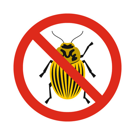 Prohibition sign colorado beetles icon in flat style isolated on white background. Warning symbol Illustration
