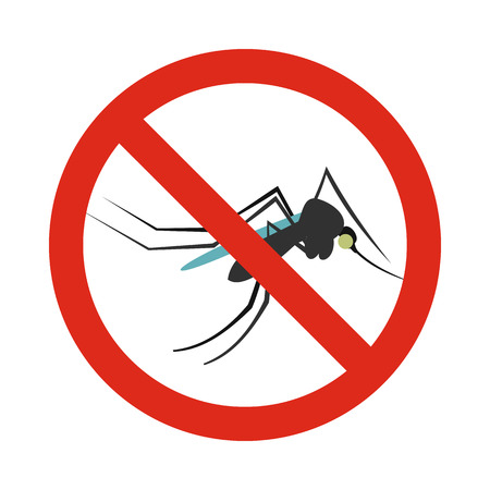 mosquitoes: Prohibition sign mosquitoes icon in flat style isolated on white background. Warning symbol Illustration