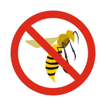 wasps: Prohibition sign wasps icon in flat style isolated on white background. Warning symbol